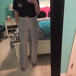 NWT Grey and white striped Loft trousers